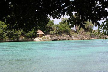 Zicht strand eilandcommunity - Mababoy, Bihol, Filipijnen van Stefan Speelberg