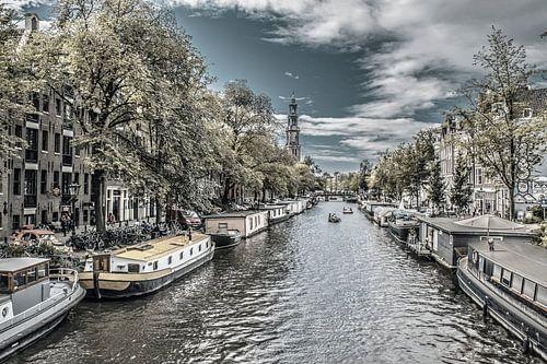 Woonboten aan de Prinsengracht, zwart-wit, Amsterdam