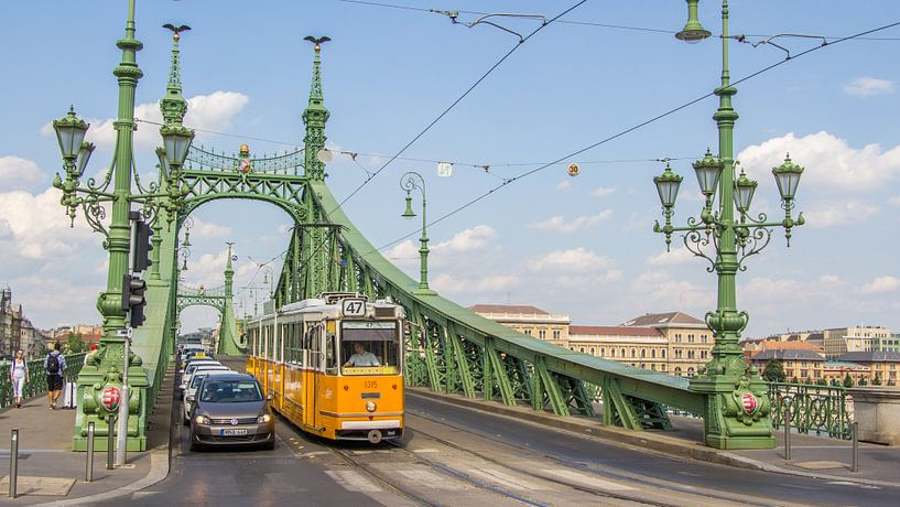 De groene brug in Boedapest Hongarije van Hilda Weges