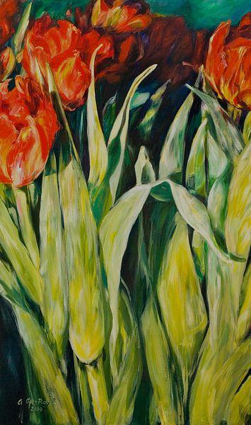 tulpenweg   150x90cm van Angelika Oft-Roy