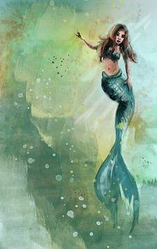 Prachtige zeemeermin illustratie met groene en gele tinten van Emiels de Lange