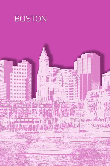 BOSTON Skyline | Graphic Art | roze van Melanie Viola
