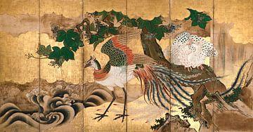 Faltwand mit Design von chinesischen Phönixen, Kano-Schule