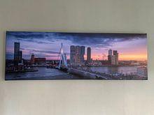 Kundenfoto: Spitsuur in Rotterdam - Panorama skyline zonsondergang von Vincent Fennis, auf leinwand