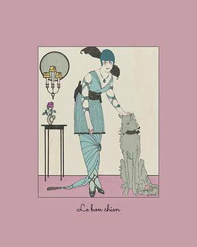 Le bon chien - De lieve hond, Historische mode prent Art Deco van NOONY