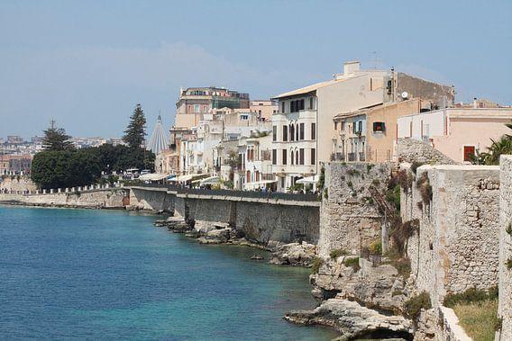 Uferpromenade , Ortygia, Ortigia, UNESCO Weltkulturerbe, Syrakus, Sizilien, Italien, Europa