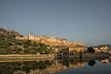 ndia Jaipur Amberfort in Rajasthan. Alte indische Palastarchitektur, Panoramablick von Tjeerd Kruse