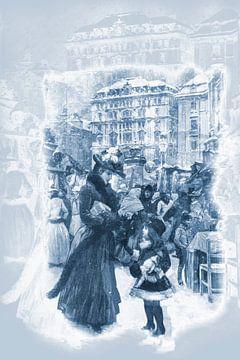 Antieke prent, dame met kind 19e eeuw van Ina Hölzel