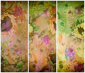 Stilleven met zonnebloemen, mimosa,bougainville en klimop. van Saskia Dingemans