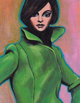 Mädchen im grünen Mantel von Lucienne van Leijen