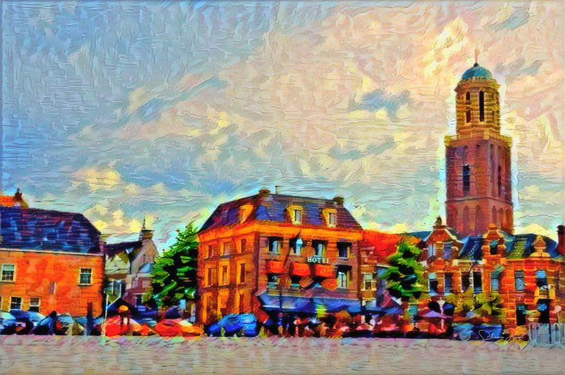 Kleurrijk Schilderij Zwolle Rodetorenplein met Peperbus van Slimme Kunst.nl