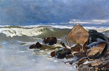 Strand bei Lohme mit Felsen, KARL HAGEMEISTER, Um 1908