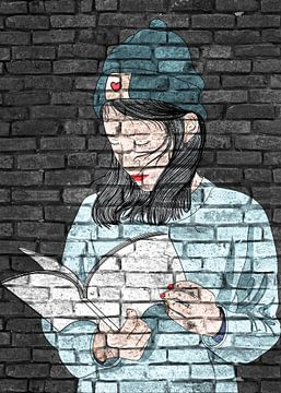 Jonge dames met boek graffiti muurontwerp van KalliDesignShop