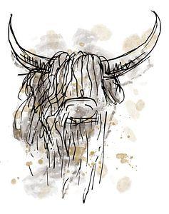 Zähes abstraktes Aquarell eines schottischen Highlanders