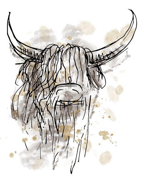 Zähes abstraktes Aquarell eines schottischen Highlanders von Emiel de Lange