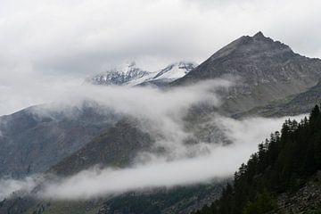 Bergen in de wolken. van Muriel Polet