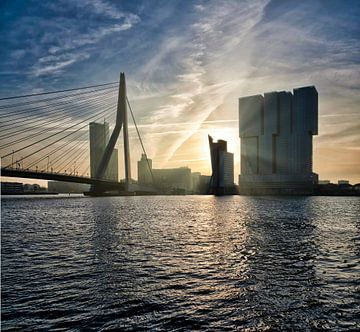 Panorama Rotterdam skyline Manhattan aan de Maas. van Hille Bouma