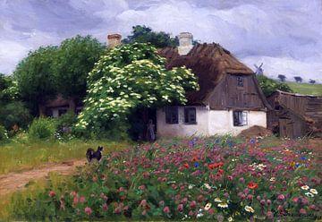 Bauernhaus mit Blumenwiese, HANS ANDERSEN BRENDEKILDE, 1909 von Atelier Liesjes