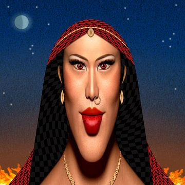 Zigeunervrouw van Ton van Hummel (Alias HUVANTO)
