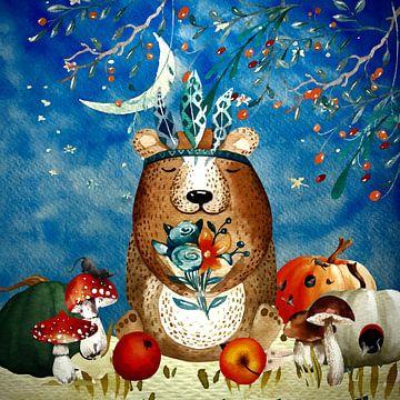 Nacht Illustration  Braun Bär im Herbst von Uta Naumann