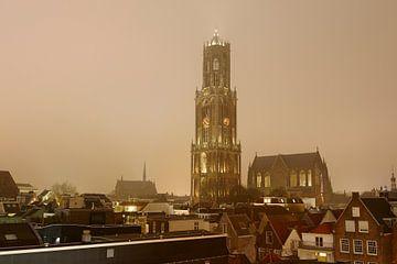 Stadsgezicht van Utrecht met Domkerk en Domtoren in bruintinten van