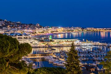 Jachthaven en de Croisette in Cannes aan de Côte d'Azur in Cannes van Werner Dieterich