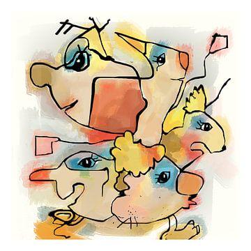 Tekening fantasie figuren nr.2 digitaal gemaakt van Marianne van der Zee