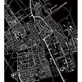 Delft | Plan de la ville Noir-Blanc sur Wereldkaarten.Shop