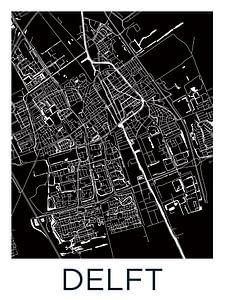 Delft Stadskaart | Zwartwit