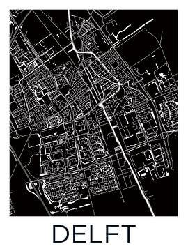 Delft | Stadtplan Schwarz-Weiß von Wereldkaarten.Shop