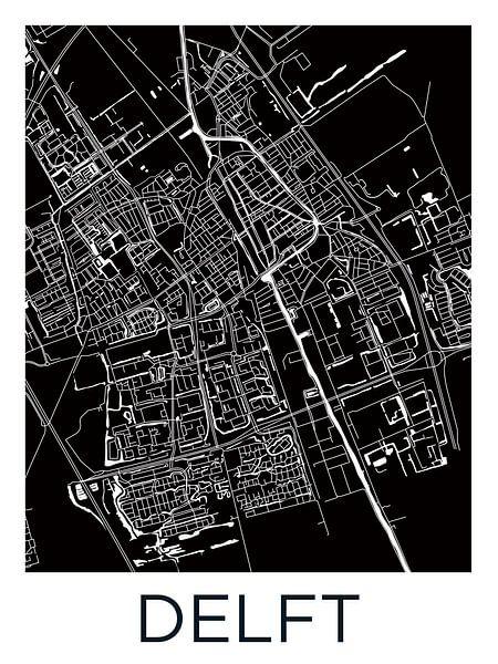 Delft Stadskaart | Zwartwit van Wereldkaarten.Shop