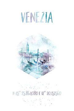 Coordonnées VENISE Canal Grande | Aquarelle sur Melanie Viola