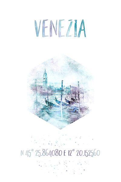 Coördinaten Venetië Canal Grande | Aquarel van Melanie Viola