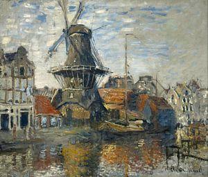 Molen onbekende gracht Amsterdam, Claude Monet