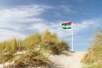 Dünen der Watteninsel Terschelling mit Flagge #4 von Marianne Jonkman
