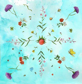 Blumen-Mandala von keanne van de Kreeke