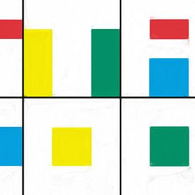 Geometrische Formen in rot blau gelb grün von Maurice Dawson