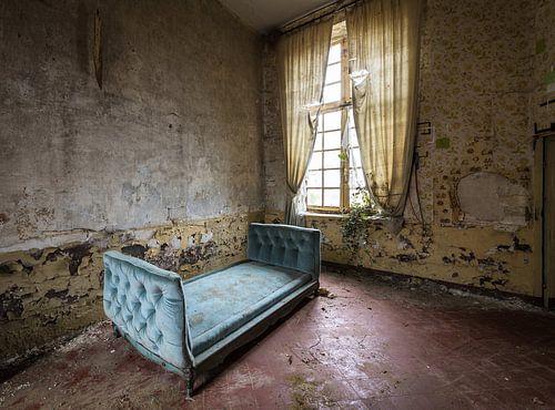 Antiek blauw bed van