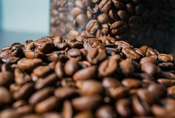 Pot verse koffiebonen van Onno van Kuik