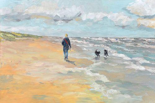 Strand wandelaar met hondjes van