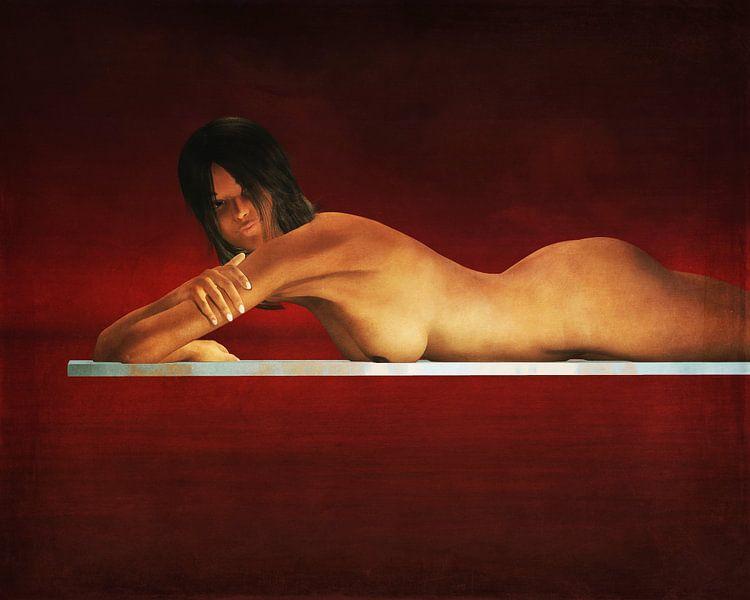 Erotisch naakt - Naakte vrouw in rust. van Jan Keteleer