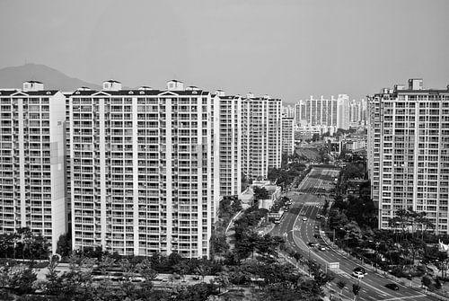 De skyline van Incheon van