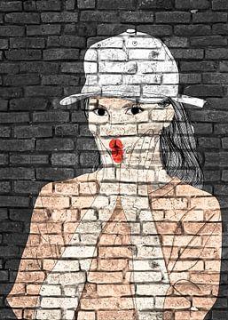Lustige junge Dame Graffiti auf schwarzem Hintergrund von KalliDesignShop