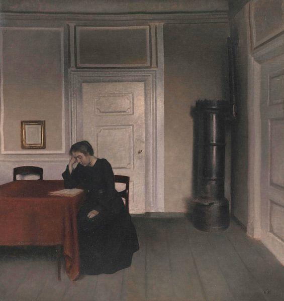 Salon à Strandgade avec la femme de l'artiste, Vilhelm Hammershøi sur Meesterlijcke Meesters
