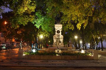 Springbrunnen am  Miradouro Sao Pedro de Alcantara in der Abendd�mmerung , Lissabon, Portugal