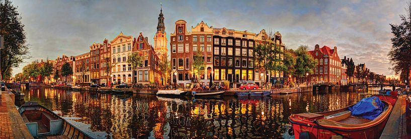 Kloveniersburgwal 50 Amsterdam Panorama du soir NR13 sur Hendrik-Jan Kornelis