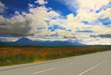 Landschaft - Neuseeland - Straße - Ölgemälde mit Radierung von Dirk van der Ven