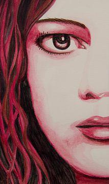 Red girl watercolor von anja verbruggen
