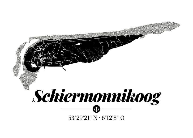 Schiermonnikoog | Artistieke landkaart | Eilandsilhouet | Zwart en wit van ViaMapia