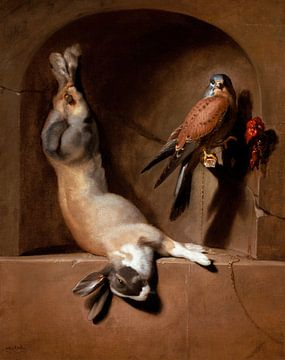 Stillleben mit totem Hasen und Falke in einer Nische, Dirck de Bray
